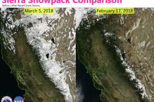 Satellite images show the Sierra Nevada snowpack in March and February of 2018.