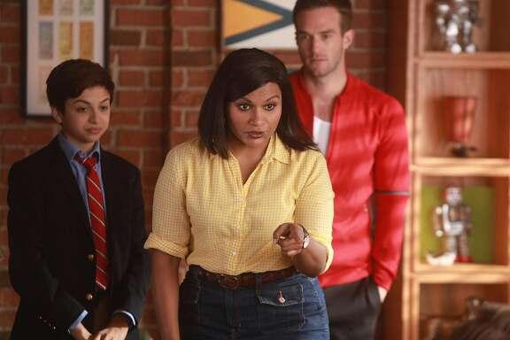 CHAMPIONS -- Pilot -- Pictured: (l-r) J.J. Totah as Michael, Mindy Kaling as Priya, Andy Favreau as Matthew