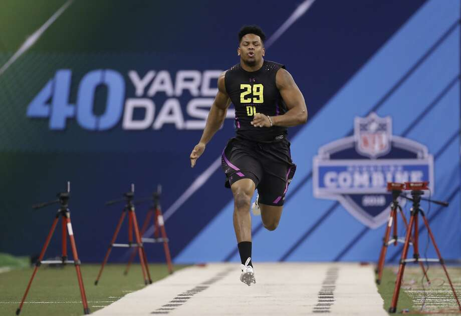 "Lance Zierlein, NFL.comMARCUS DAVENPORT | DE | UTSAZierlein: ""Seattle could opt for an athletic offensive tackle like Kolton Miller or even a ball-hawking cornerback, but GM John Schneider typically looks for certain athletic traits and he's always looking for pass rushers. Davenport fits on both fronts and helps replace Michael Bennett."" Photo: Darron Cummings, Associated Press"