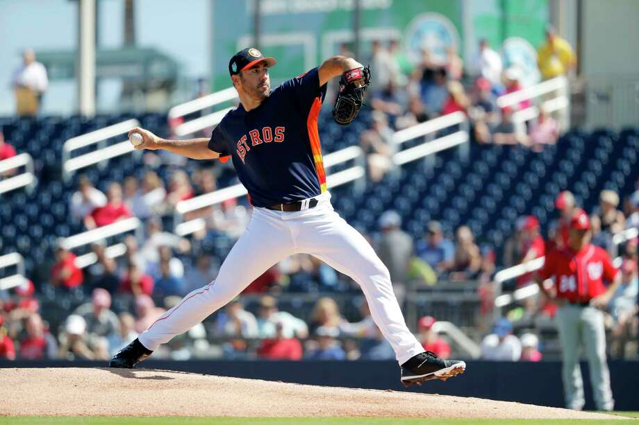 Justin Verlander continued a strong spring start against the Nationals on Saturday. Over five innings in his two appearances, he has allowed no runs, two hits and no walks while fanning nine. Photo: Jeff Roberson, STF / Copyright 2018 The Associated Press. All rights reserved.