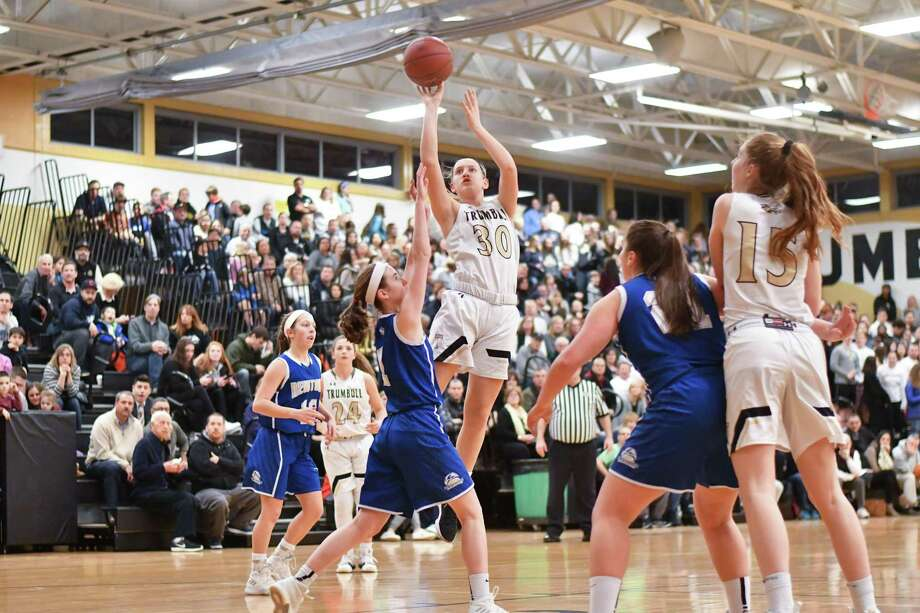Girls Class LL quarter final game action between the Trumbull Eagles and the Newtown Nighthawks played at Trumbull High School on Monday March 5, 2018, in Trumbull, Connecticut. Photo: Gregory Vasil / For Hearst Connecticut Media / Connecticut Post Freelance