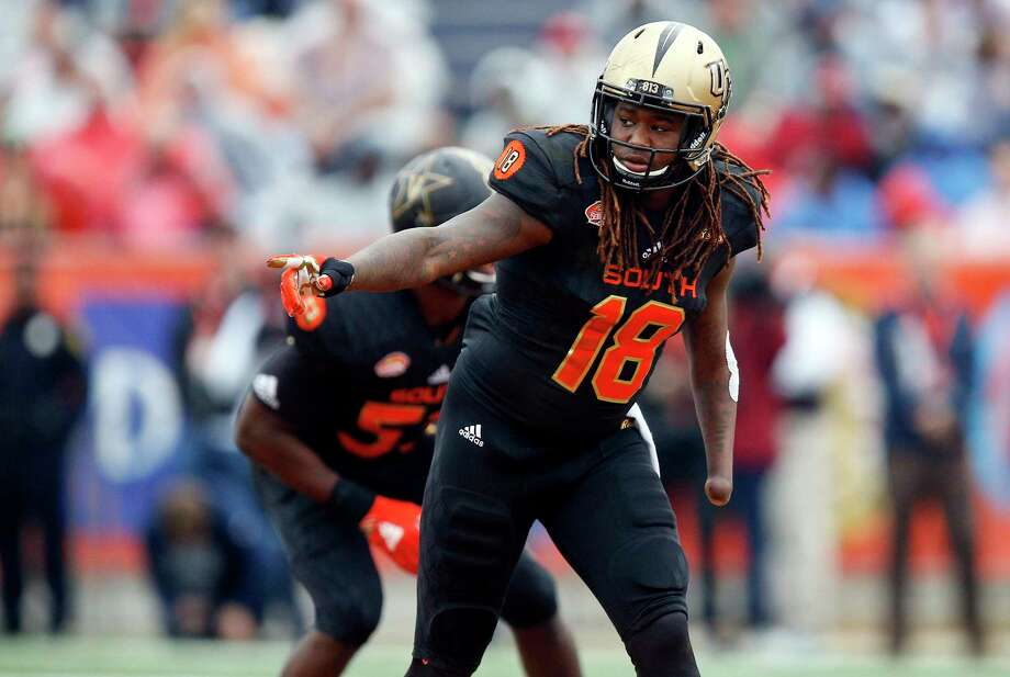 Despite having his left hand amputated when he was 4, Shaquem Griffin had a standout career at Central Florida and should have his named called during the NFL draft. Photo: Brynn Anderson, STF / Copyright 2018 The Associated Press. All rights reserved.