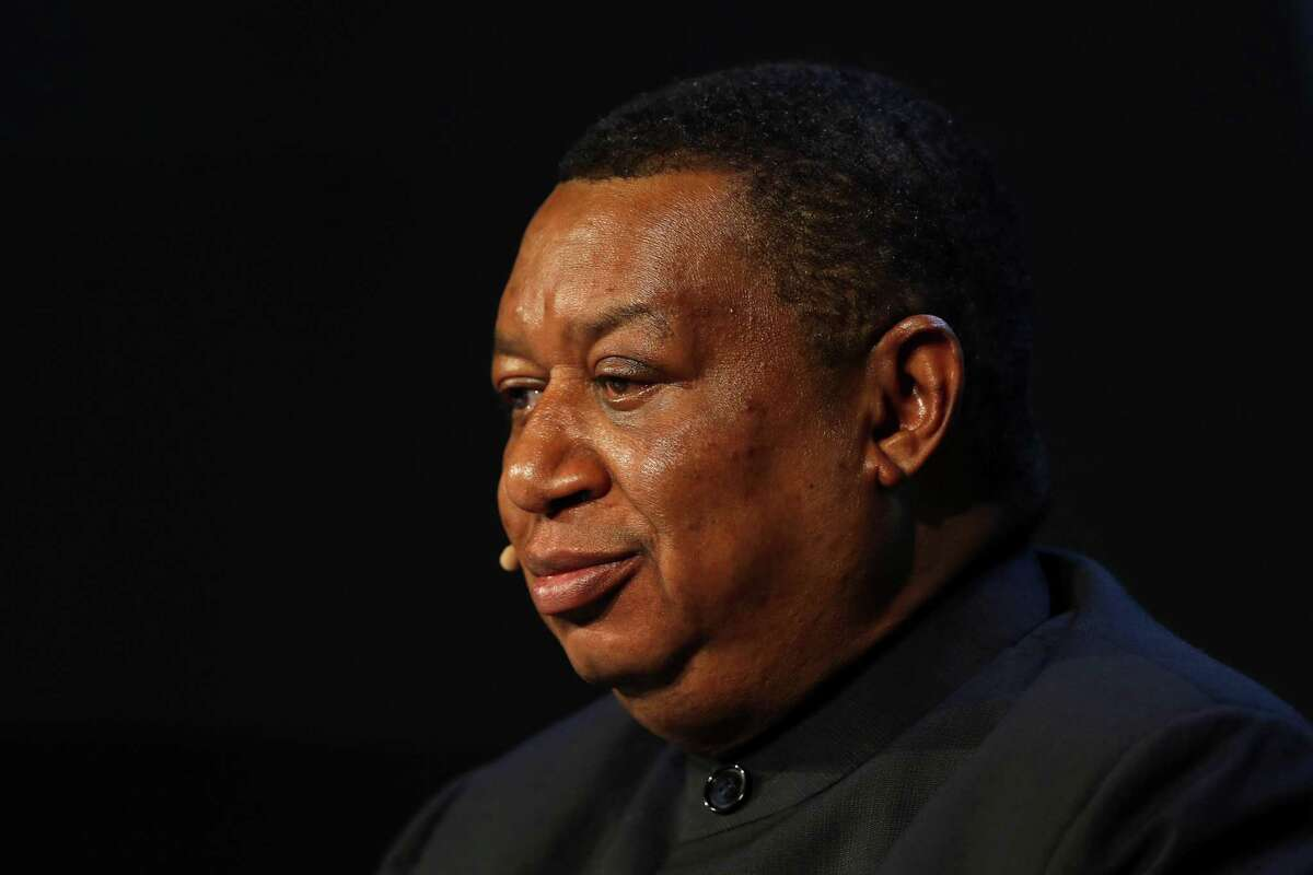 Mohammed Barkindo, secretary general of the Organization of Petroleum Exporting Countries (OPEC), listens during the 2018 CERAWeek by IHS Markit conference in Houston, Texas, U.S., on Monday, March 5, 2018. CERAWeek gathers energy industry leaders, experts, government officials and policymakers, leaders from the technology, financial, and industrial communities to provide new insights and critically-important dialogue on energy markets. Photographer: Aaron M. Sprecher/Bloomberg