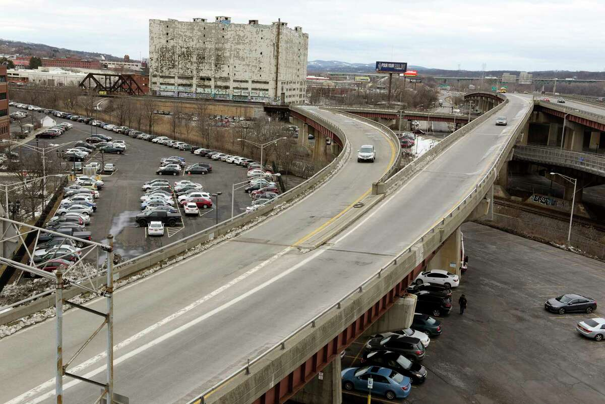 A view of the ramp from Quay Street, on the left in photo, and the ramp from Interstate 787 north, that come together to exit onto Clinton Ave., seen here on Monday, March 5, 2018, in Albany, N.Y. A proposed park idea would turn the ramp from Quay Street into a park. (Paul Buckowski/Times Union)