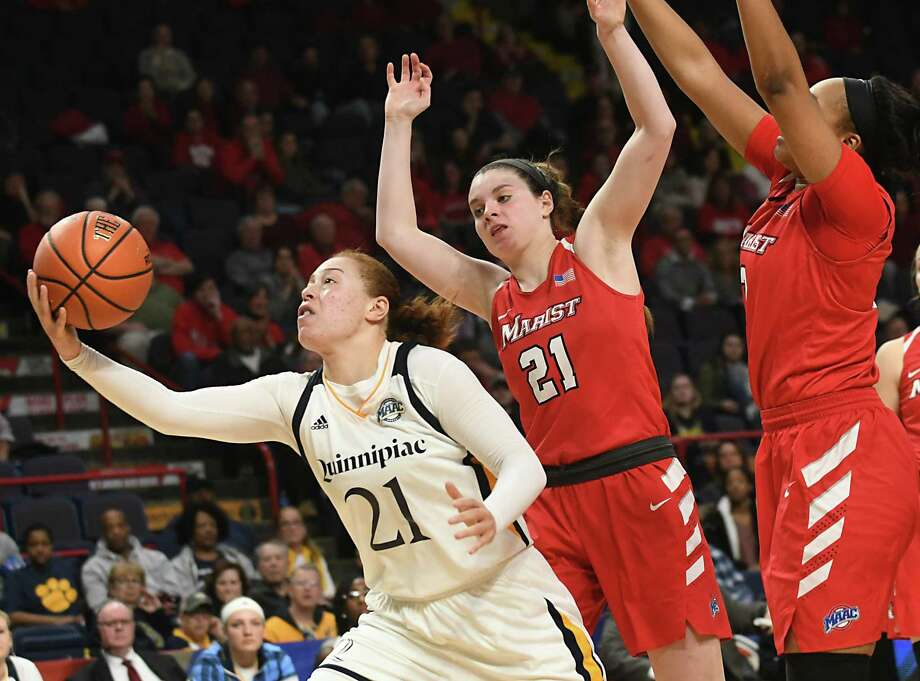 Quinnipiac's MVP Jen Fay, #21, grabs a loose ball before putting it up for two against Marist in the Metro Atlantic Athletic Conference Tournament's championship game at the Times Union Center on Monday, March 5, 2018 in Albany N.Y. (Lori Van Buren/Times Union) Photo: Lori Van Buren / 20043095A
