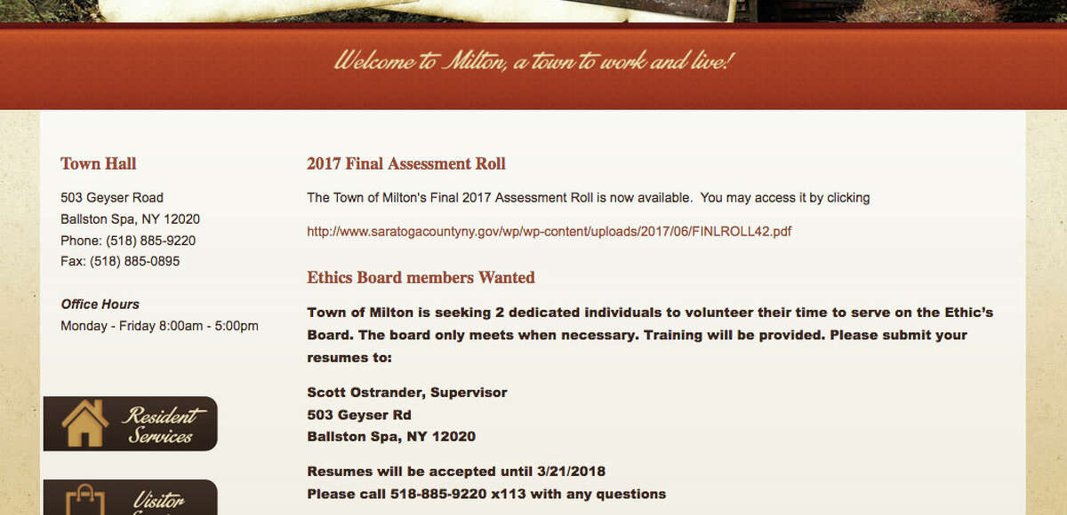 The Town of Milton website directs candidates for the Ethics Board to contact Supervisor Scott Ostrander.