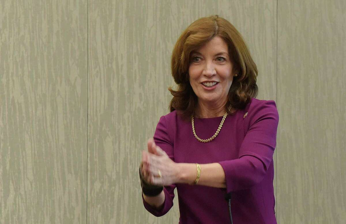 Lieutenant Governor Kathy Hochul gives a talk on women in leadership roles at the New York State Council of School Superintendents Conference on Monday, March 5, 2018, in Albany, N.Y. (Paul Buckowski/Times Union)