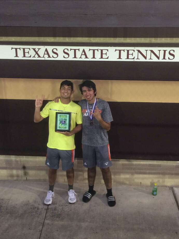 Marco Vela, pictured with Sammy Ordonez, took second place in boys' A singles at the San Marcos Rattler Open Tournament to help United win the team title. Photo: Courtesy Photo