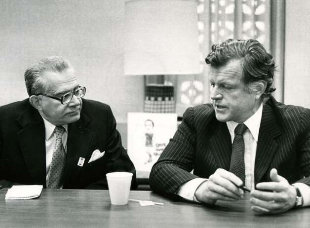 Harry Rosenfeld, left, speaks with Sen. Edward Kennedy during a Times Union editorial board meeting on March 5, 1980. (Arnold LeFevre / Times Union)