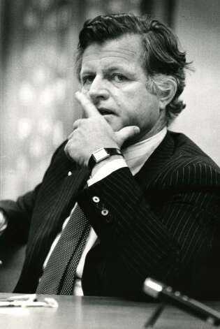 Sen. Edward Kennedy during a Times Union editorial board meeting on March 5, 1980. (Arnold LeFevre / Times Union)