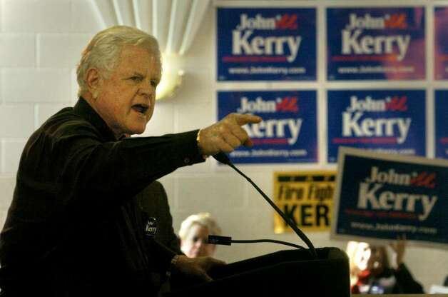 Sen. Edward Kennedy speaks to a crowd of John Kerry supporters during a rally at the Labor Temple in Albany on Feb. 27, 2004. (Michael P. Farrell / Times Union) Photo: MICHAEL P. FARRELL / ALBANY TIMES UNION