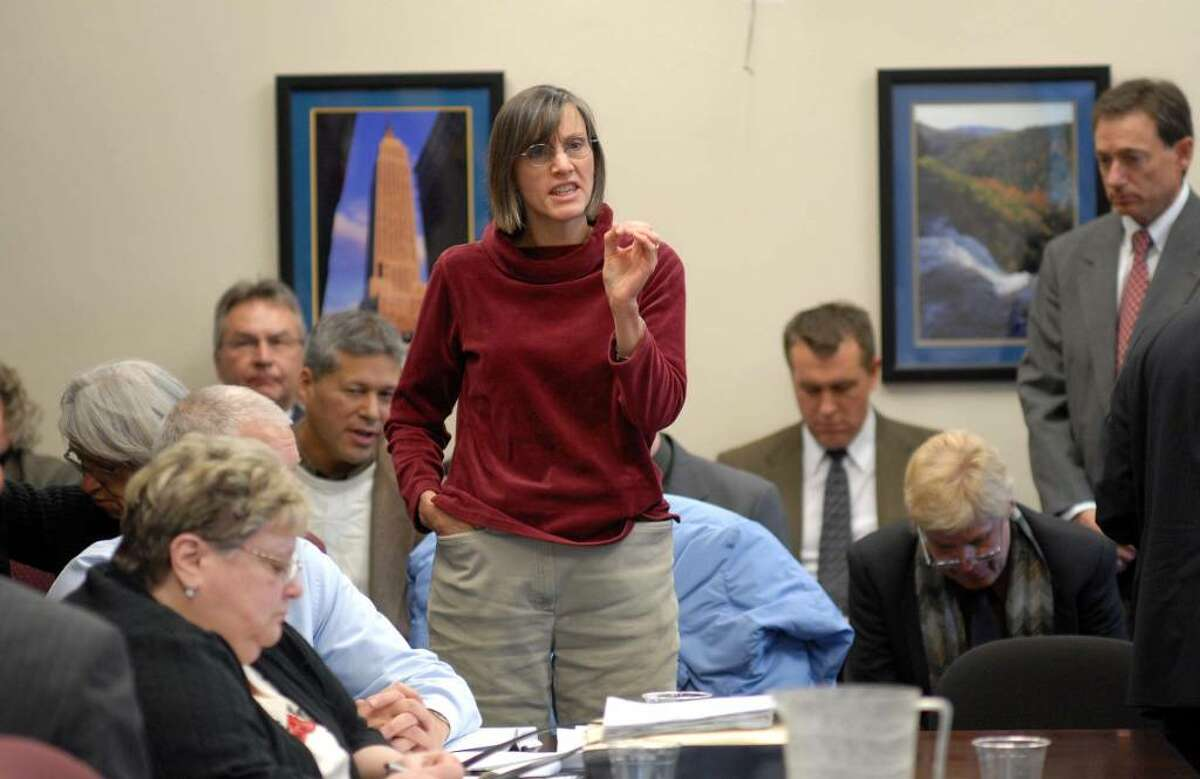Helena Kosorek of Albany, rises to ask a question about electronic voting machines and the security of their tamper seals as a short recess was called during a meeting of the State Board of Elections on Tuesday, Dec. 15. The board took up the issue of moving forward to approve the new electronic voting machines. Kosorek had raised her hand during the meeting but the board was not taking questions from the public and so rose to voice her concern. (Paul Buckowski / Times Union)