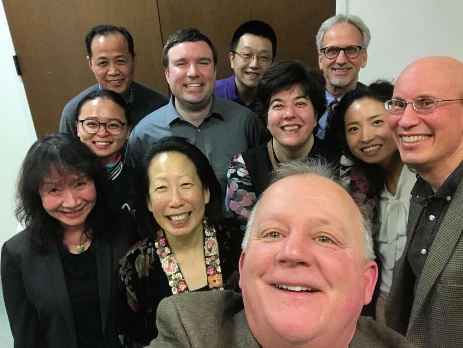 Group selfie after dinner for visiting writer Gish Jen.
