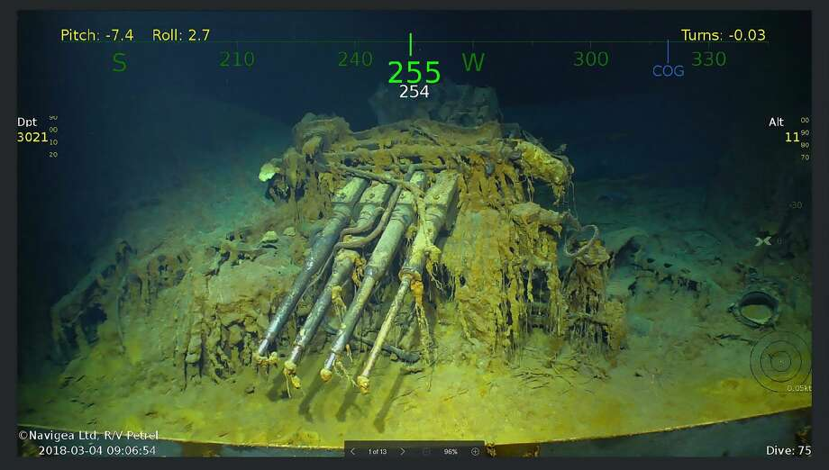 Wreckage from the USS Lexington, a US aircraft carrier which sank during World War II, that has been found in the Coral Sea by a search team led by Microsoft co-founder Paul G. Allen. Photo: DOUGLAS CURRAN/AFP/Getty Images