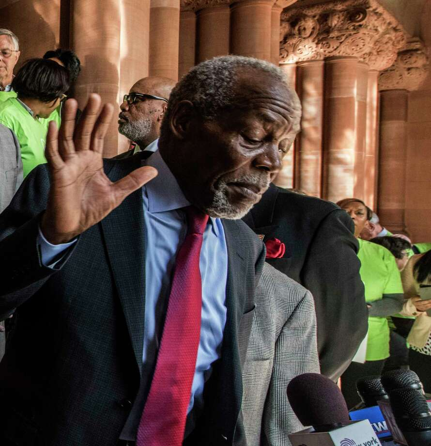 Activist against Airbnb in New York City get in to a heated argument as Actor and Airbnb activist Danny Glover tries to quiet the crowd during a rally at the State Capitol Tuesday March,6 2018 in Albany, N.Y.   (Skip Dickstein/Times Union) Photo: SKIP DICKSTEIN, Albany Times Union / 20043142A