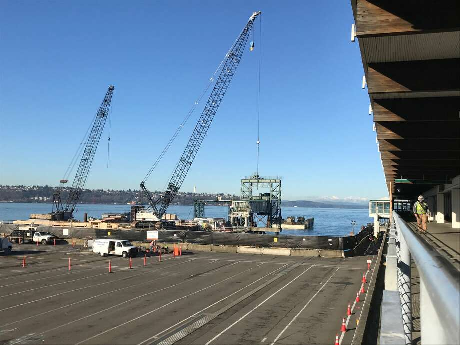 A view of Colman Dock as construction continues at the Washington State Ferries terminal on March 6, 2018. Photo: Stephen Cohen/SeattlePI
