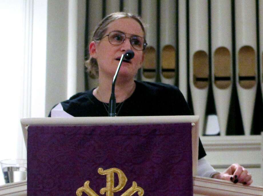 "Fairfield resident Nancy Lefkowitz spoke out against gun violence at a ""Let's Talk About Guns"" event on Feb. 22 in the Greenfield Hill Congregational Church. Photo: Sophie Vaughan / Hearst Connecticut Media / Fairfield Citizen"