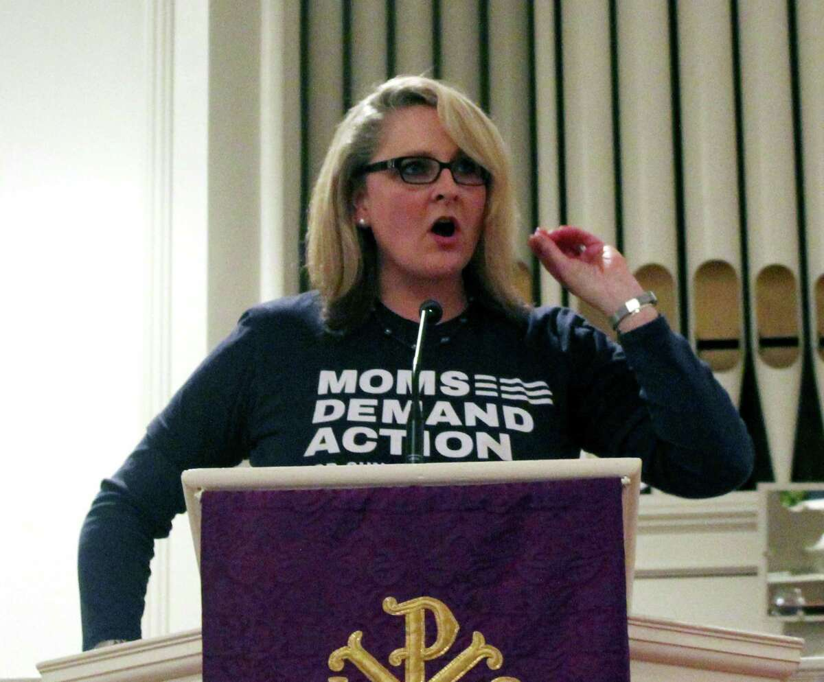 Norwalk resident Kara Baekey, founder of the Connecticut chapter of Moms Demand Action for Gun Sense in America, spoke at the Greenfield Hill Congregational Church in Fairfield at a