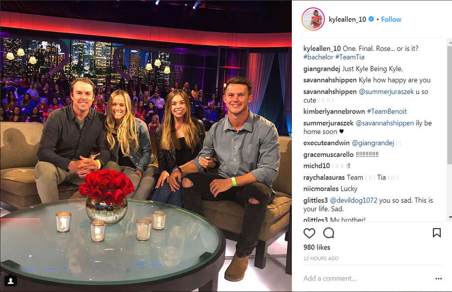 PHOTOS: A look at the best social media reactions during The Bachelor finaleFormer University of Houston and Texas A&M quarterback Kyle Allen and former NFL quarterback Jordan Palmer attended the live taping of The Bachelor finale on Monday, March 5, 2018.Browse through the photos above for a look at the best social media reactions to The Bachelor finale. Photo: Instagram