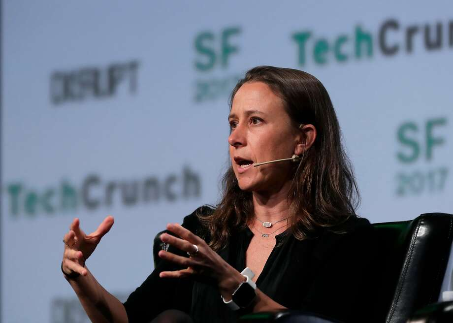 Anne Wojcicki, co-founder and CEO of 23andMe on stage during TechCrunch Disrupt in San Francisco in 2017.The Food and Drug Administration authorized Mountain View's 23andMe to sell a test for a breast cancer genetic mutation directly to consumers. Photo: Michael Macor, The Chronicle