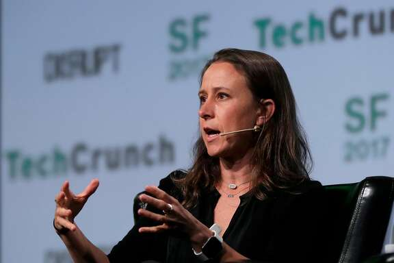 Anne Wojcicki, co-founder and CEO of 23andMe on stage during TechCrunch Disrupt in San Francisco , Ca., on Tuesday September 19,  2017.