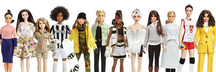 The new�Barbie Global Role Models dolls include (from left): Vicky Martin Berrocal, Xiaotong Guan, Bindi Irwin, Sara Gama, Chloe Kim, Martyna Wojciechowska, Nicola Adams OBE, San Francisco Ballet dancer Yuan Yuan Tan, Patty Jenkins, H�l�ne Darroze, Hui Ruoqi, and Leyla Piedayesh.