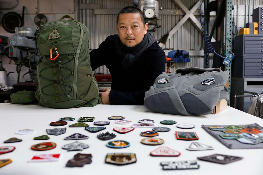 Patrick Ma, at his Prometheus Design Werx in San Francisco, has championed morale patches for decades. Photo: Russell Yip, The Chronicle