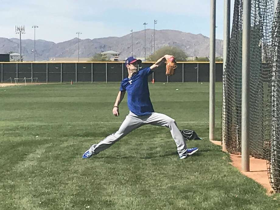 Former San Francisco Giants pitcher Tim Lincecum in camp with the Texas Rangers in Surprise, Ariz., on March 6, 2018. Photo: San Francisco Chronicle, John Shea