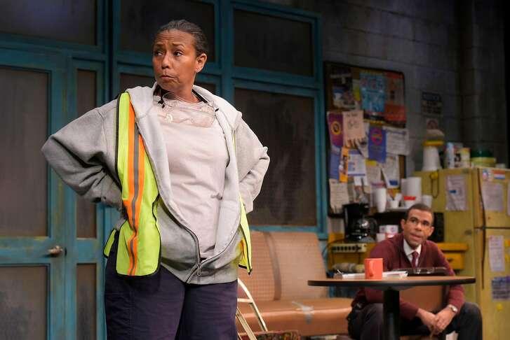 "Faye (Margo Hall) and Reggie (Lance Gardner) in ""Skeleton Crew"" at TheatreWorks."