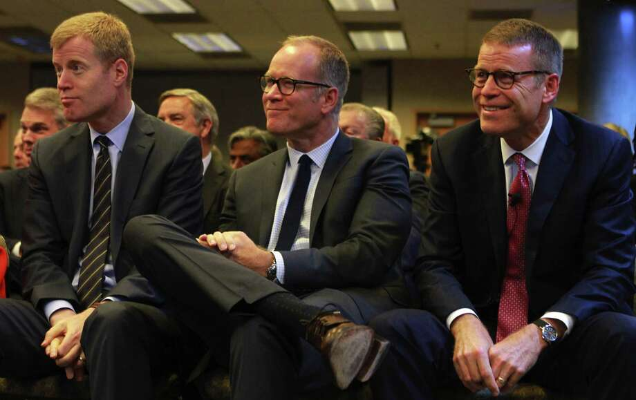 The Nordstrom brothers (from left) Erik, Peter and Blake, co-presidents of the company, looked on at the annual shareholder meeting in 2015. After the company's founding family put together an offer of about $50 a share in cash, Nordstrom's independent directors spurned the deal on Monday, saying the price was too low. Photo: Ken Lambert /TNS / Seattle Times