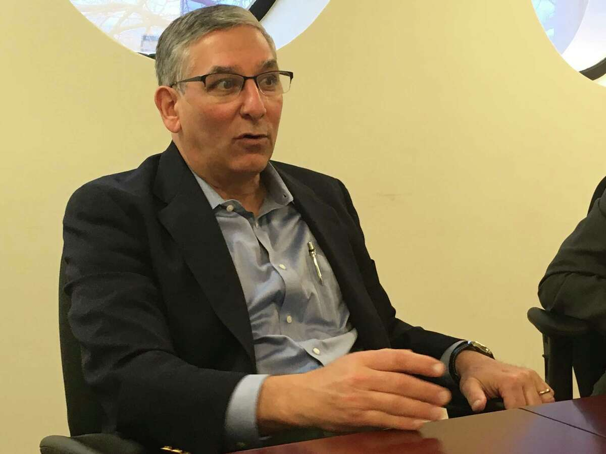 Len Fasano meets with the New Haven Register editorial board.