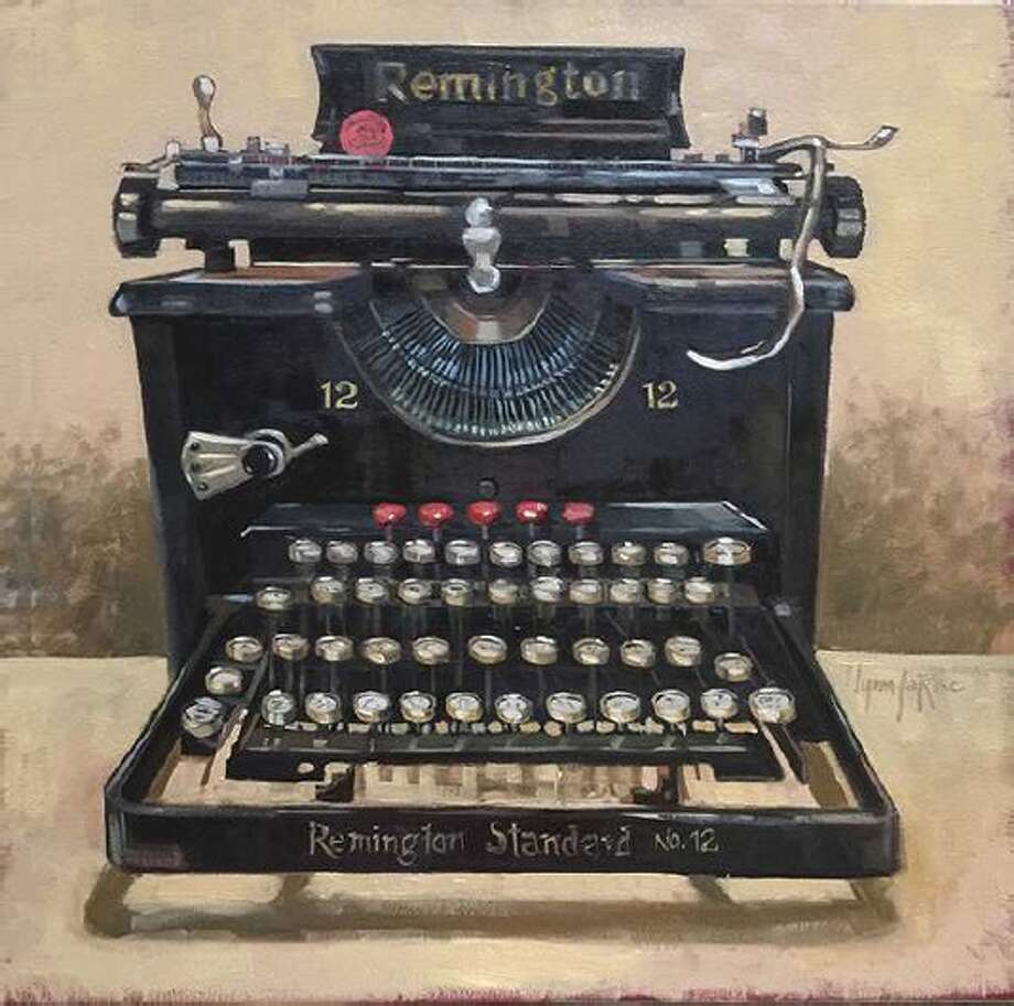 """An oil painting titled """"Remington Standard No. 12,"""" which is a finalist entry in CAL's 2018 National Invitational art competition, and is currently on display at the Gallery at the Madeley Building in downtown Conroe."""