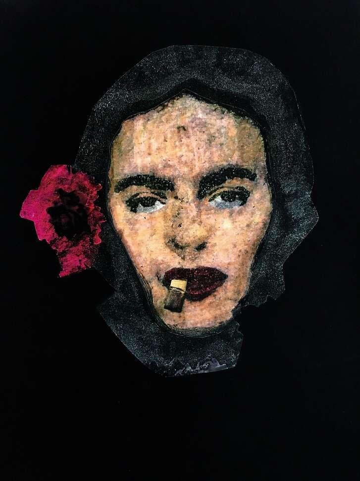 Smoke Gets In Your Eyebrows (El Humo Se Pone En Tus Cejas) by Ren� Ya�ez. Paint on print.