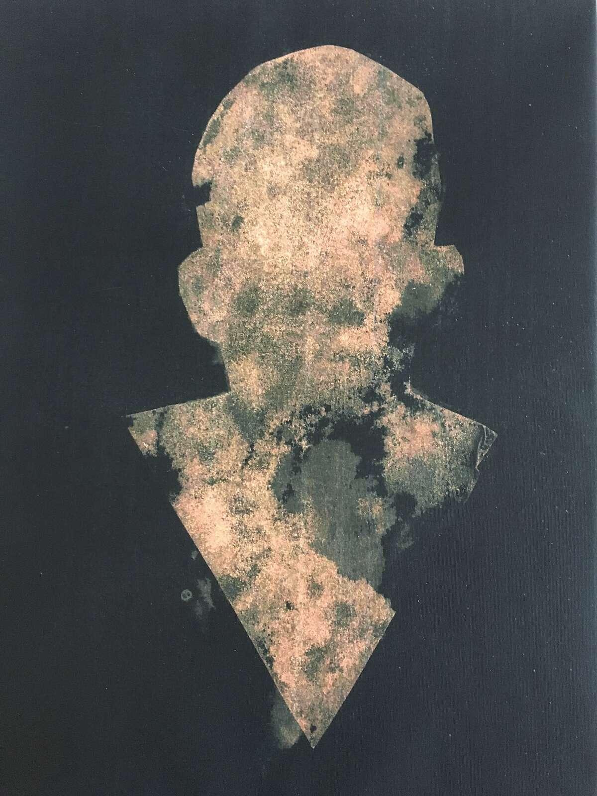 Self-Portrait (El Autorretrato) by Ren� Ya�ez. Paint on print. Mixed-media on canvas.
