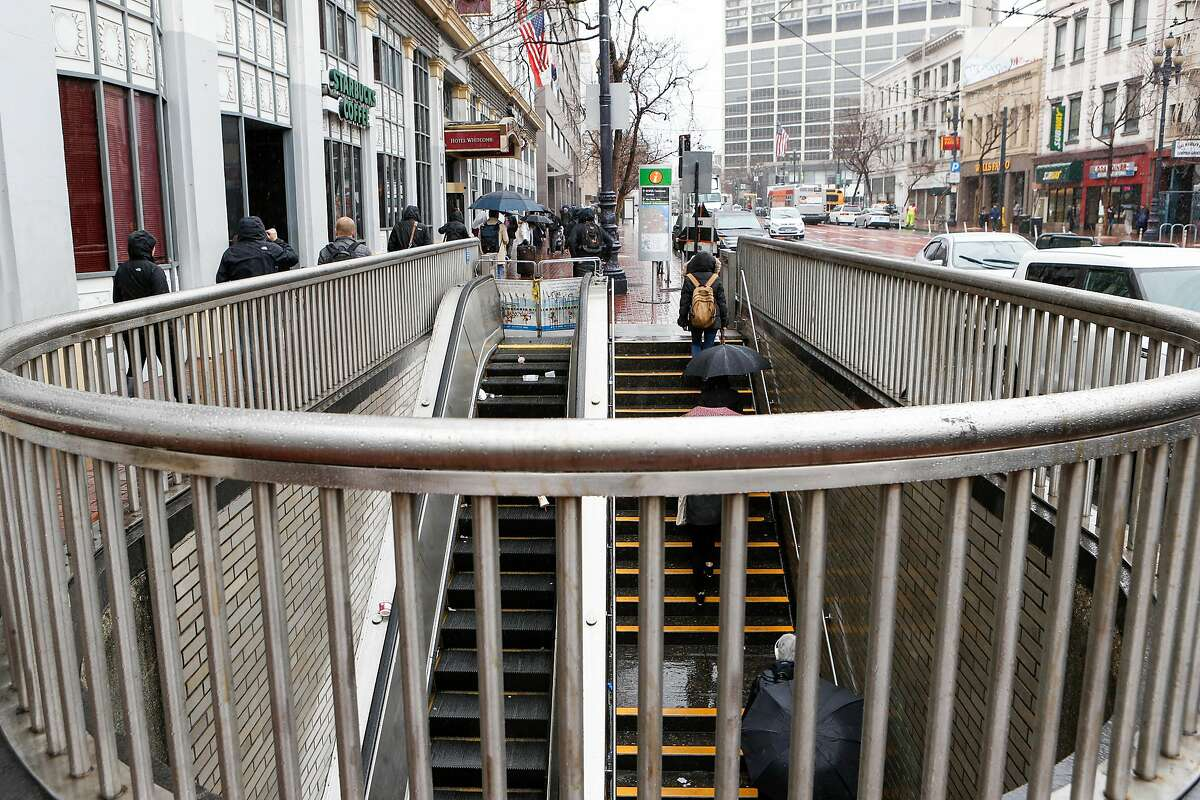 An entrance leading to Civic Center Station in front of the Hotel Whitcomb is likely to be closed on Thursday, February 28, 2018 in San Francisco, California.