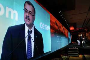With his images projected behind him, Saudi Aramco CEO Amin Nasser gives his address as a featured speaker during Ceraweek held at the Hilton Americas Hotel Tuesday, Mar. 6, 2018 in Houston, TX. (Michael Wyke / For the  Chronicle)