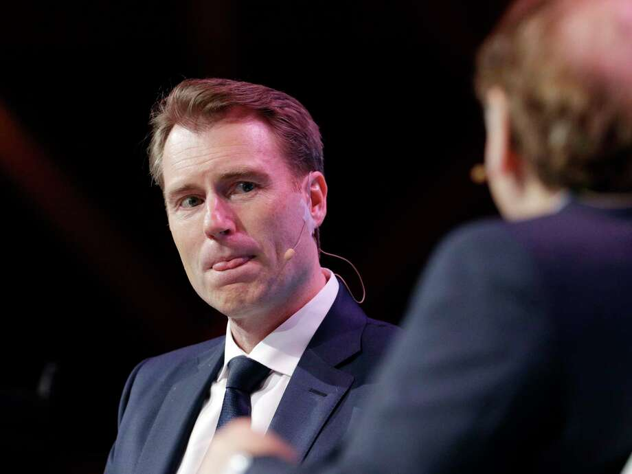 Schlumberger CEO Paal Kibsgaard at CERAWeek by IHS Markit in 2018. Schlumberger said its first quarter profits fell 20 percent as activity in North American shale plays slowed.  NEXT: See recent earnings reports from area energy companies.  Photo: Michael Wyke, For The Chronicle / © 2018 Houston Chronicle