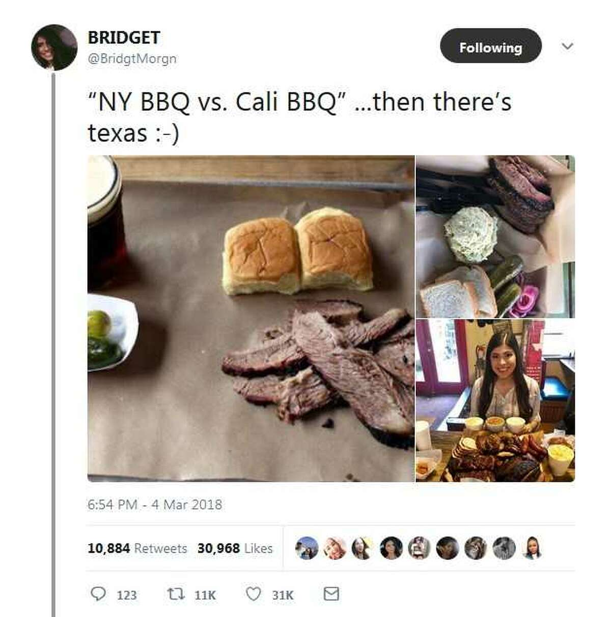 Bridget Morgan had the perfect response to a Tweet about Brooklyn barbecue.