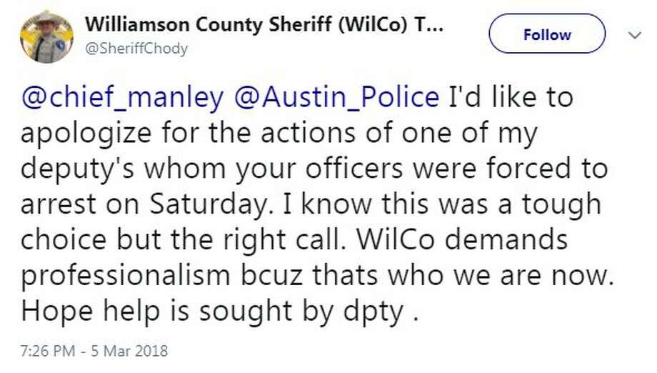 A deputy north of Austin is now jobless after being charged with resisting arrest and public intoxication. Photo: Twitter / @SheriffChody