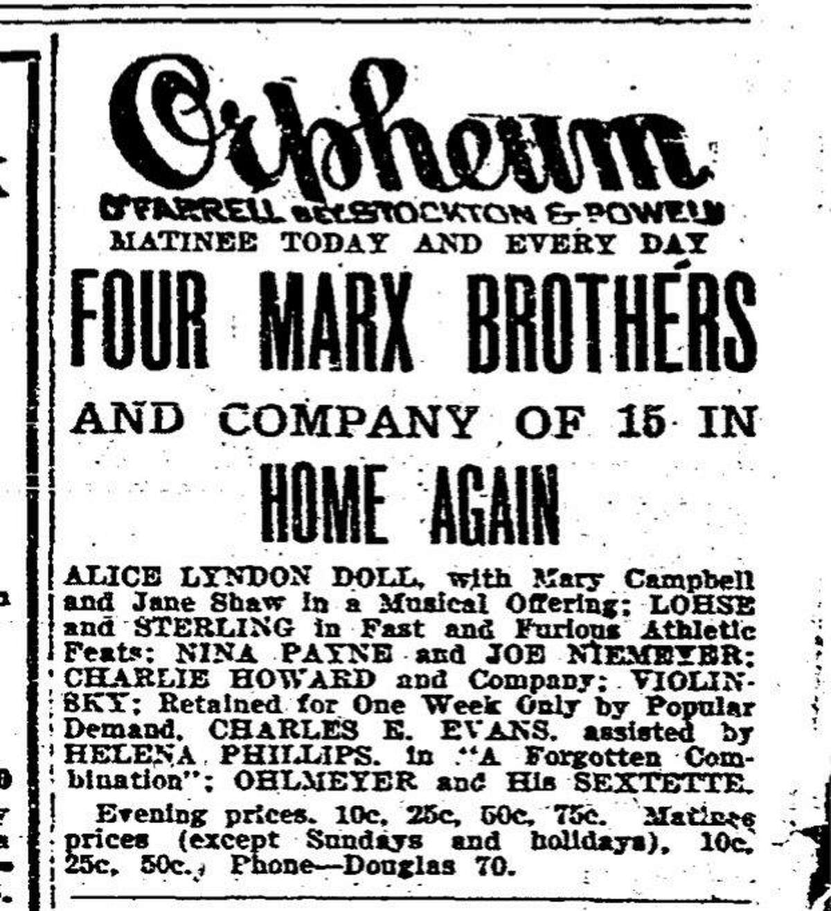 Ad for one of the Marx Brothers first appearances in San Francisco September 1915