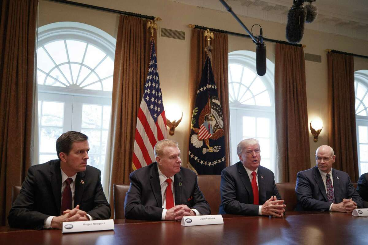 FILE ?- President Donald Trump leads a roundtable discussion on foreign trade and steel production inside the Cabinet Room of the White House in Washington, March 1, 2018. Economists question whether the president?'s tariffs will do much to narrow the trade deficit, and whether policymakers should care about the economic metric at all. (Tom Brenner/The New York Times)