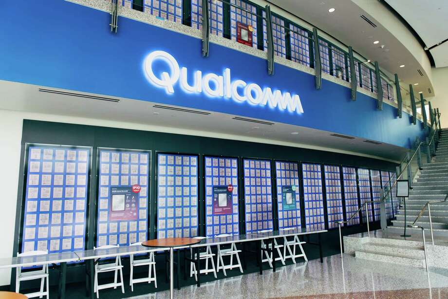 "FILE-- The ""patent wall"" in Qualcomm's corporate museum in San Diego, Jan. 30, 2018. The U.S. government said in March of 2018 that Broadcom's proposed deal to acquire rival chipmaker Qualcomm could pose a national security risk and called for a full investigation into the hostile bid. (Graham Walzer/The New York Times) Photo: GRAHAM WALZER / NYTNS"