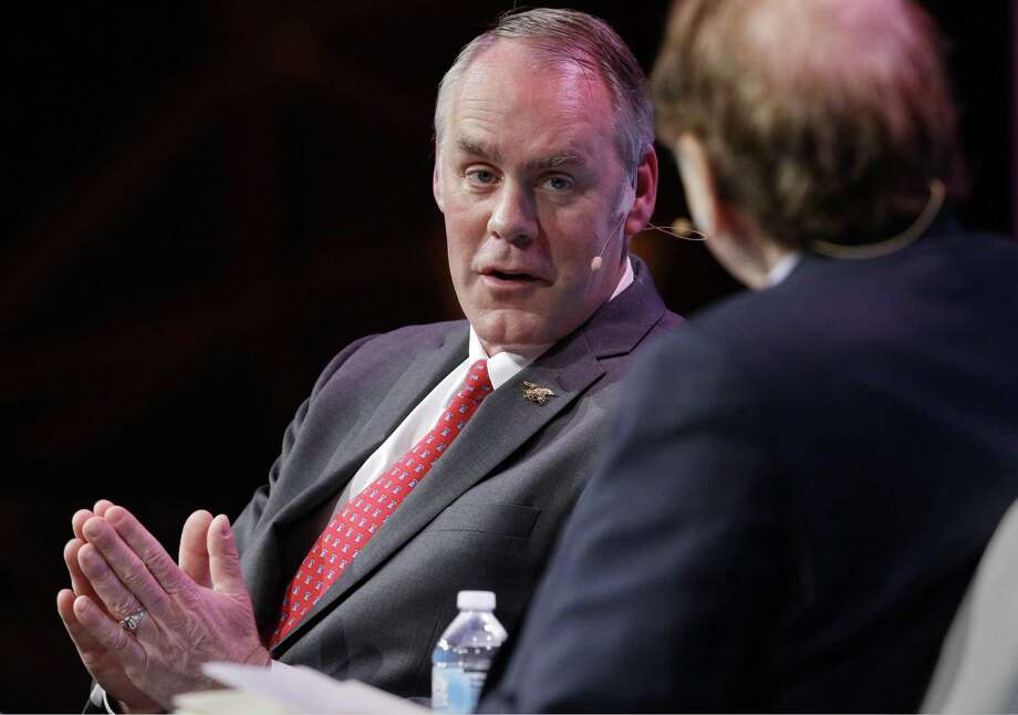 Secretary of the Interior Ryan Zinke answers a question from moderator Dan Yergin during a Q&A session after Zinke's address at CERAWeek held at the Hilton Americas Hotel Tuesday, Mar. 6, 2018 in Houston, TX. (Michael Wyke / For the  Chronicle) Photo: Michael Wyke, Freelance / For The Chronicle / © 2018 Houston Chronicle