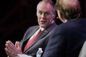 Secretary of the Interior Ryan Zinke answers a question from moderator Dan Yergin during a Q&A session after Zinke's address at CERAWeek held at the Hilton Americas Hotel Tuesday, Mar. 6, 2018 in Houston, TX. (Michael Wyke / For the Chronicle)