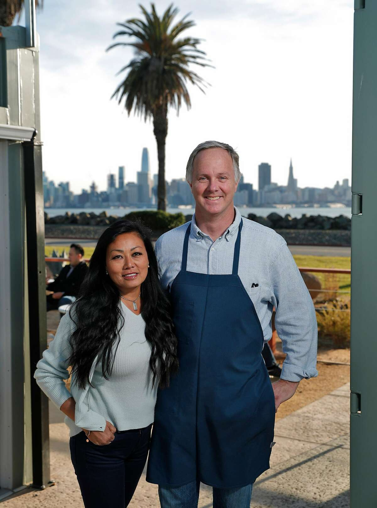 Owners MeeSun Boice, left, and Parke Ulrich at MerSea Restaurant on Treasure Island in San Francisco, Calif., on Monday, March 5, 2018. MerSea is a new restaurant (made from shipping containers) on Treasure Island with a spectacular view of the city.