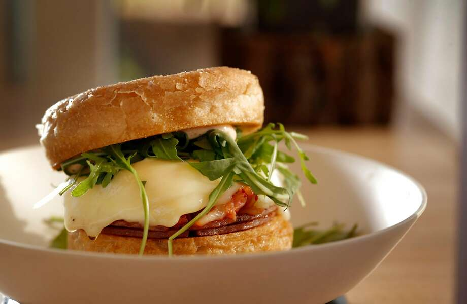The Jersey Girls sandwich with Taylor pork roll, fried egg, kimchi, arugula and English muffin at MerSea. Photo: Carlos Avila Gonzalez, The Chronicle