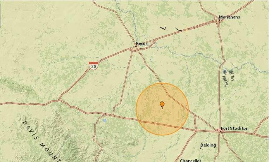 On Saturday, the USGS reported a 2.7-magnitude quake near Fort Davis.  Photo: Earthquaketrack.com