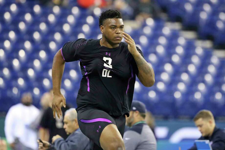 Oklahoma offensive lineman Orlando Brown participates in the 40-yard dash at the 2018 NFL Scouting Combine on Friday, March 2, 2018, in Indianapolis. (AP Photo/Gregory Payan) Photo: Gregory Payan, STF / Copyright 2018 The Associated Press. All rights reserved.