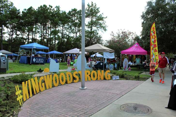 "The message ""#KingwoodStrong"" welcomes people to A Taste of Lake Houston Festival at Town Center Park in Kingwood on Saturday, Sept. 23."