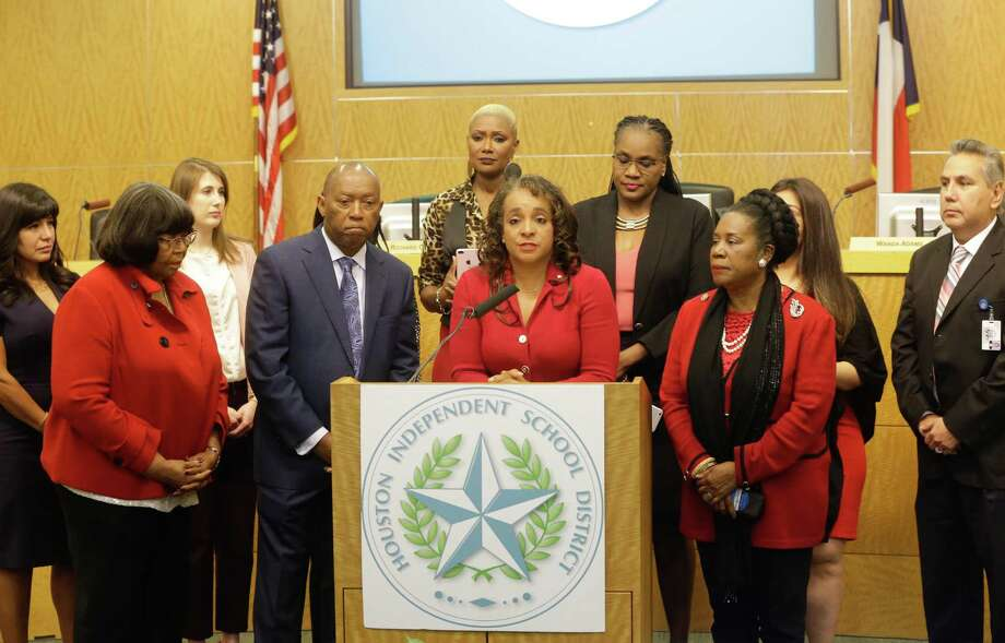 Houston ISD board president, Rhonda Skillern-Jones, speaks to the media Tuesday, March 6, 2018. HISD's Board of Education held a press conference to discuss how the district will move forward following the unexpected announcement that superintendent Richard Carranza had accepted the top job with the New York City Department of Education. ( Melissa Phillip /Houston Chronicle ) Photo: Melissa Phillip / Houston Chronicle